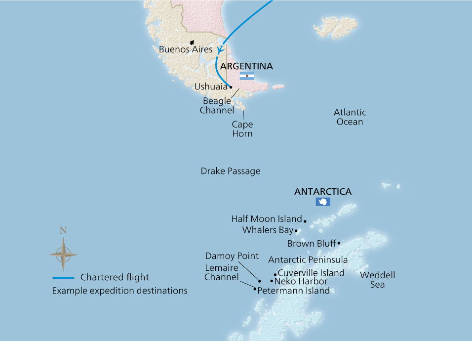 Map of the Antarctic Explorer itinerary