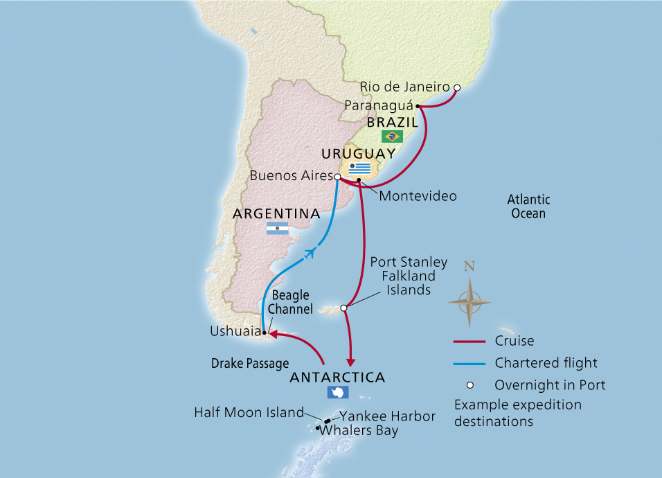 Map of the South America and Antarctic Discovery itinerary