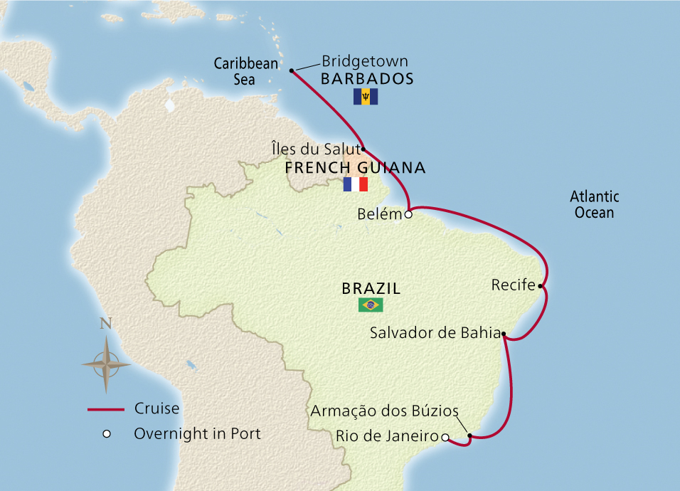 Map of the Brazil's Vibrant Coast itinerary
