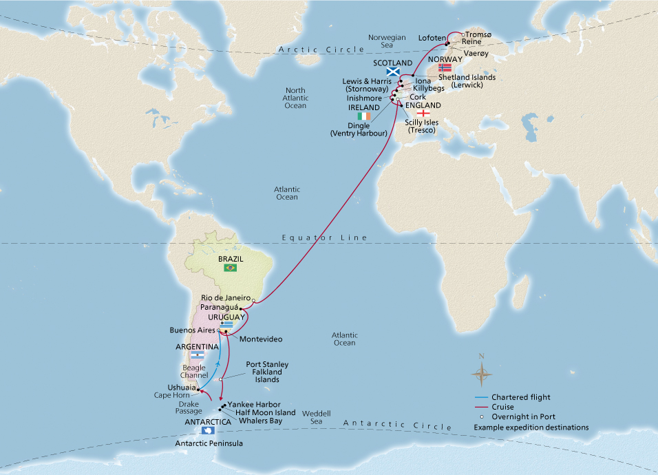 Map of the From the Arctic to Antarctica itinerary
