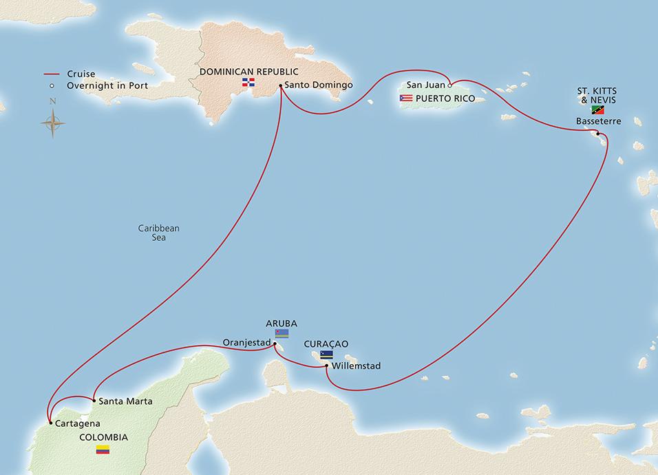 Caribbean Sea South America Map.South America The Caribbean San Juan To San Juan Cruise Overview