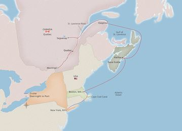 Map of Eastern Seaboard Explorer itinerary