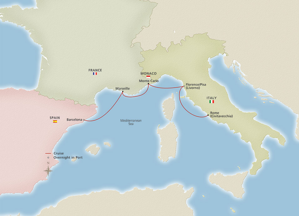 Map of Iconic Mediterranean Holiday itinerary
