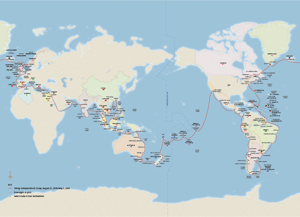 Map of the Viking Ultimate World Cruise itinerary