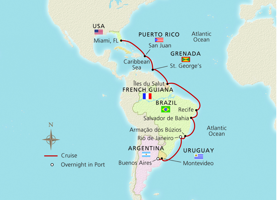 From Miami to South America Map