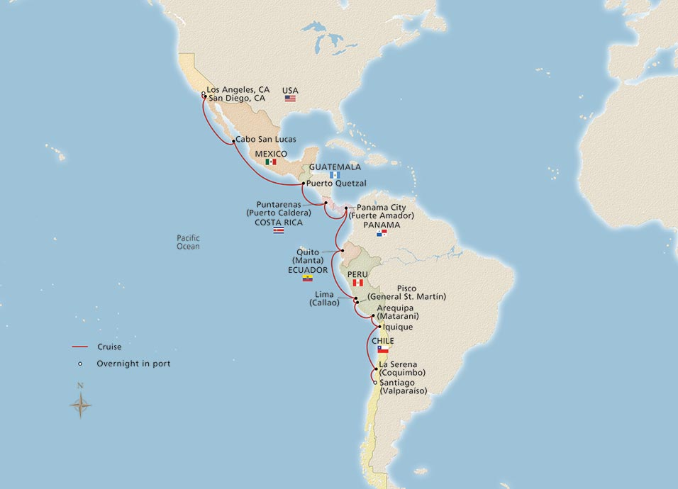 Map for Journey Along the Pacific Coast itinerary