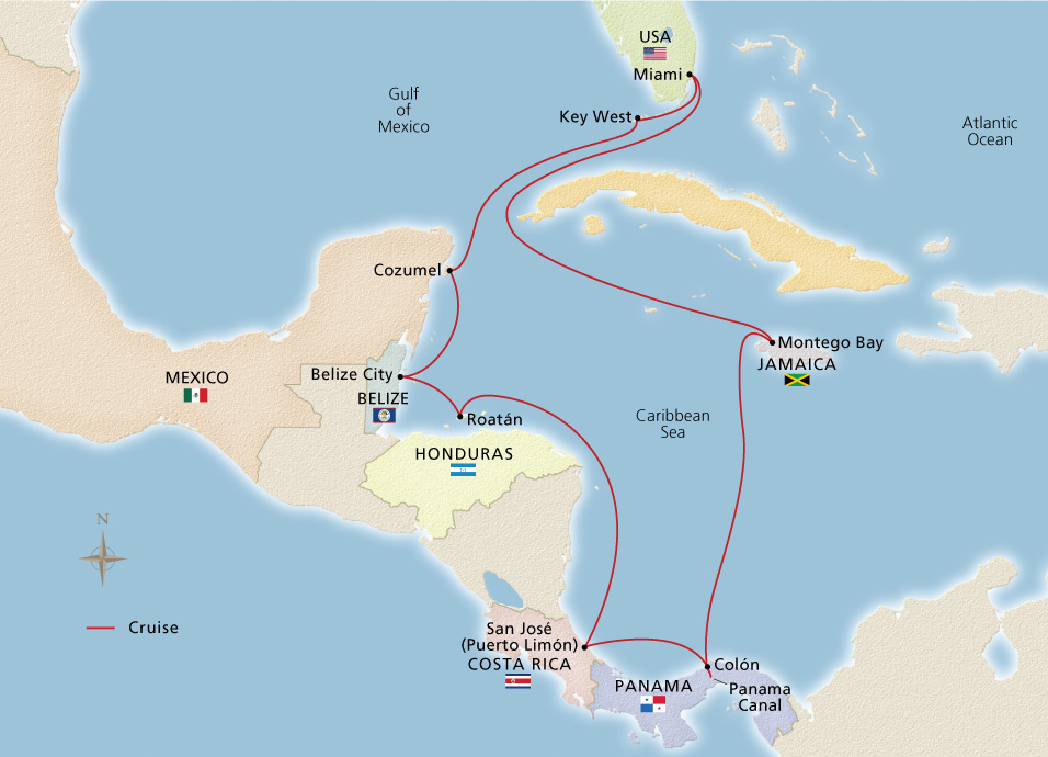 Map of the Panama Canal & Central America itinerary