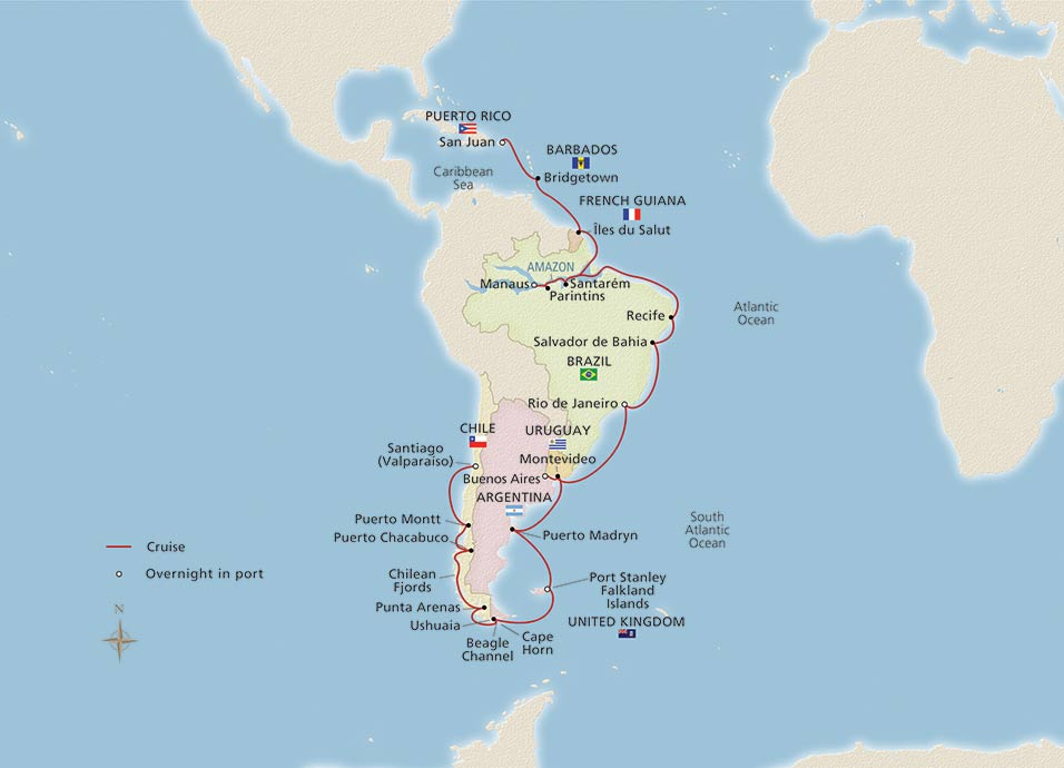 Map for West Indies, Amazon &  South America itinerary