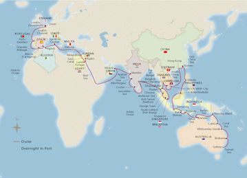 Map of Australila, Asia, Europe & Beyond itinerary