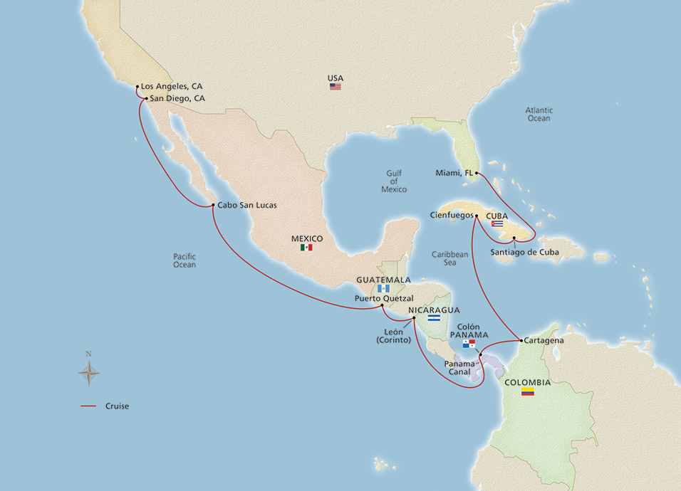 Map of Cuba, Panama & the Pacific Holiday itinerary