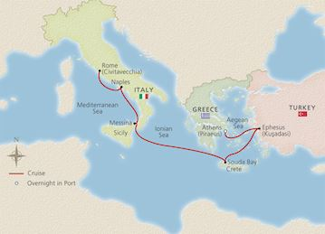 Map of Journey to Antiquities itinerary