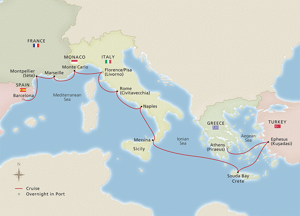 Map of Mediterranean Antiquities itinerary
