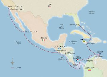 Map of Panama Canal and the Pacific Holiday itinerary