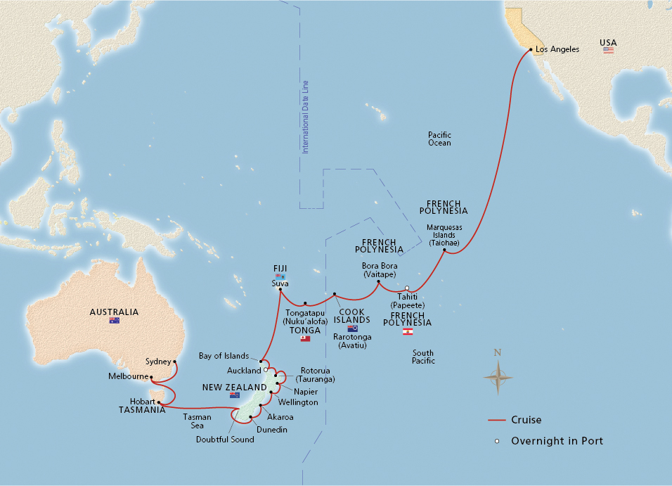 Map of South Pacific & the Land Down Under itinerary