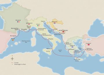 Map of Antiquities of Mediterranean itinerary