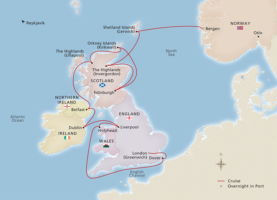 Map of British Isles Explorer itinerary