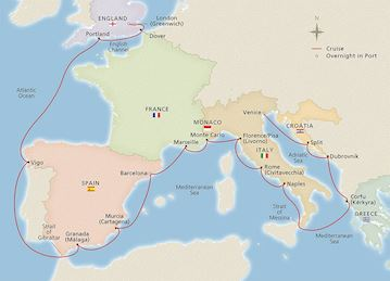 Map of the European Highlights itinerary