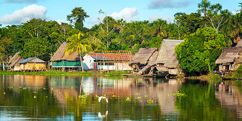 Riverside village in Amazon jungle