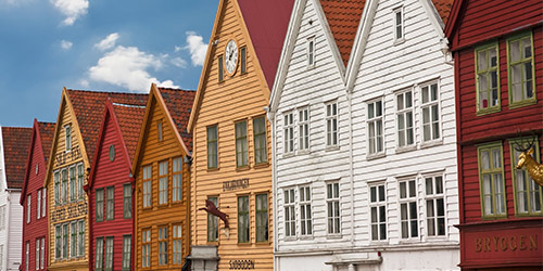 Row houses in Bergen Norway