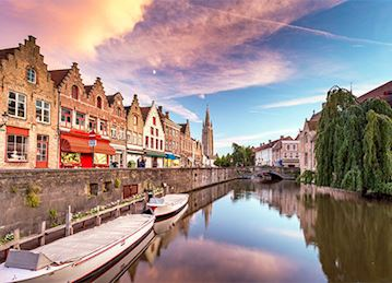 A canal at sunrise in Bruges, Belgium