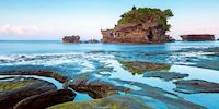 Tanah Lot rock formation off of Bali, India
