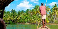 Boatman and palm trees in Cochin, India