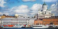 Panorama of Helsinki, Finland and Helsinki Cathedral