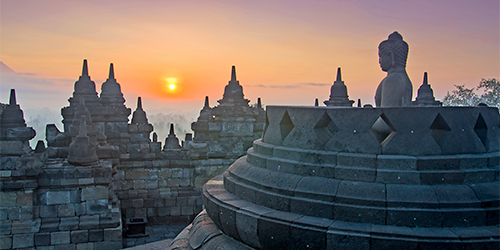 Borobudur Temple in Java at Sunrise.