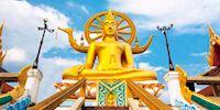 Gold Buddha statue on Ko Samui island