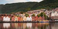 Rowhouses and landscape of Bergen, Norway
