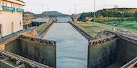 Aerial view of the locks at the Panama Canal