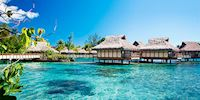 Bungalows in the lagoon atPapeete, Tahiti