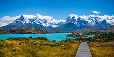 Landscape panorama of Lake Pehoe in Patagonia