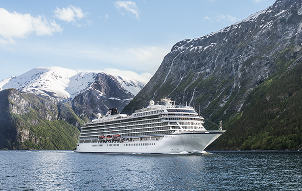 Viking Star sailing in fjord near Flam, Norway