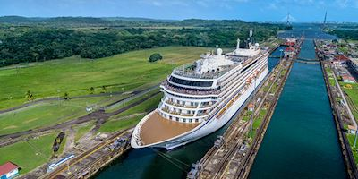 Viking ocean vessel crossing the Panama Canal