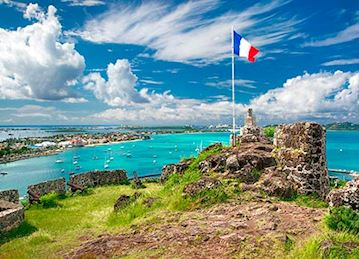 A French flag planted at Ft. Louis in St. Martin
