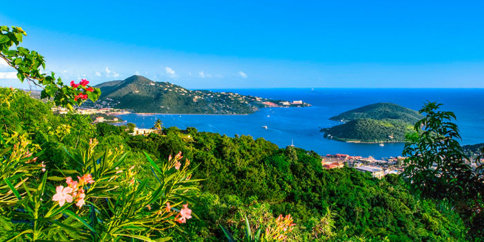 Aerial view of Charlotte Amalie in St. Thomas
