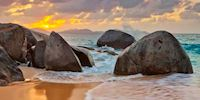 Boulders at sunset at Tortoal Beach