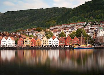 Houses along the water in Bergen, Norway
