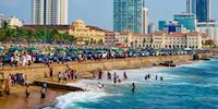 Throngs of people at Galle Face Beach inColombo, Sri Lanka