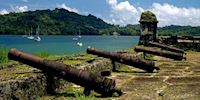 Old cannons along the shore of Portobelo, Colón
