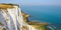 White cliffs of dover dropping to the coast