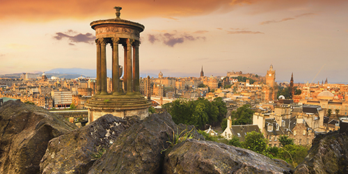 Calton Hill at sunset in Edinburgh, Scotland