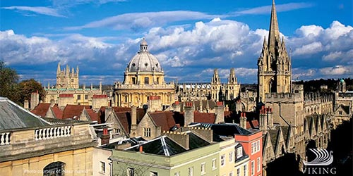 Aerial panorama of Oxford University, England