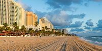 Fort Lauderdale Beach hotels on the sand at sunrise