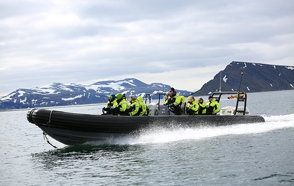 Boat safari group in Honningsvag, Norway