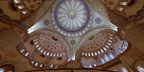 Interior of Blue Mosque domes in Istanbul, Turkey