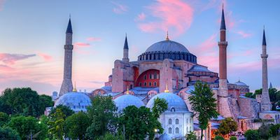 Hagia Sophia at twilight in Istanbul