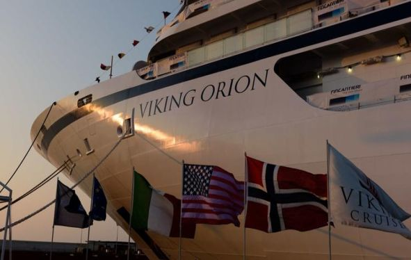 Close up view of the bow of Viking Orion