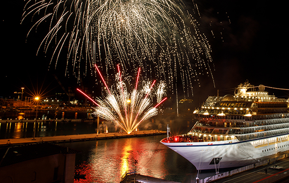 Fireworks display at Viking Orion naming ceremony